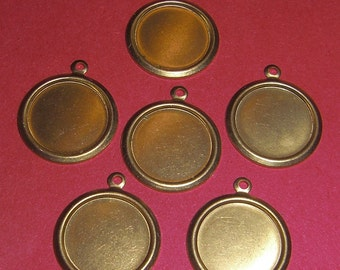 18 pcs. brass 14mm cabochon settings - f1863