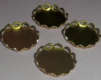 12 pcs. brass 15mm lace edge cabochon settings - f1867