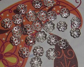 72 pcs. silver tone bead caps 6mm - f1960