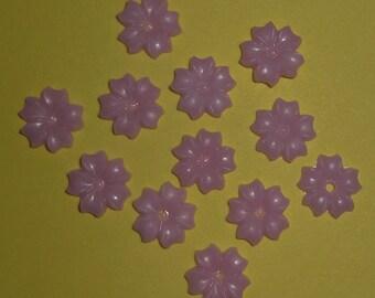 15 pcs. vintage celluloid lavender flower cabochons 9mm - f1971