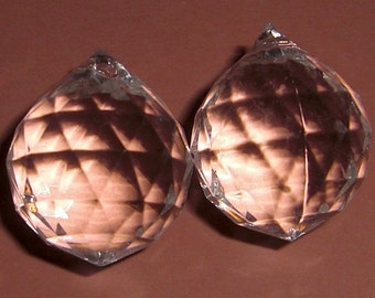 6 pcs. lucite faceted crystal ball drops 19mm - f1999