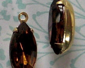 6 pcs. vintage glass smoky topaz rhinestone charms 15x7mm - f2062
