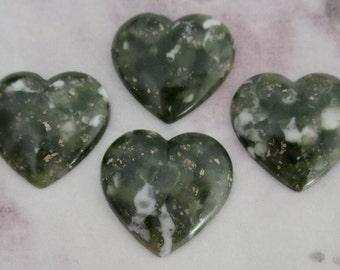 12 pcs. vintage green matrix plastic heart cabochons 18mm - f2326
