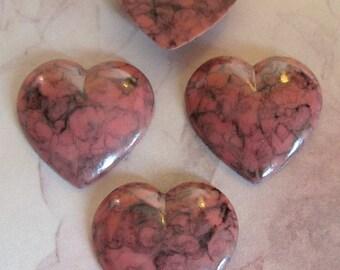 12 pcs. vintage pink and black matrix heart cabochons 19x19mm - f2484