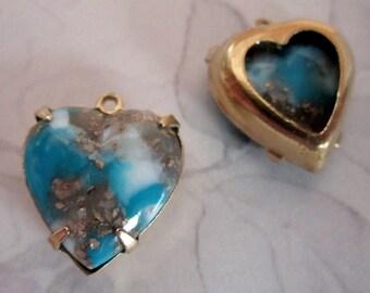 6 pcs. vintage turquoise matrix heart charms 15mm - f2503