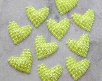30 pcs. vintage lemon yellow bumpy heart cabochons 11x10mm - f2546