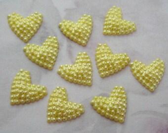 30 pcs. vintage buttercup yellow bumpy heart cabochons 11x10mm - f2547