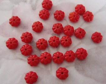 50 pcs. vintage red flower beads 6x4mm - f2587