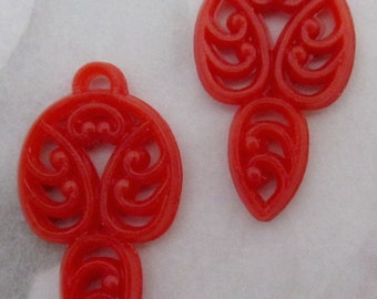 6 pcs. vintage red filigree charms 23x13mm - R52