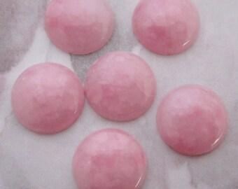 18 pcs. vintage plastic pink mottled cabochons 12mm - f2616