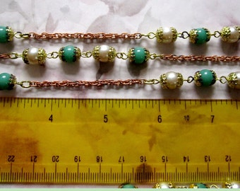 4 feet vintage green & faux pearl connector bead chain - f2632