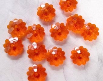 36 pcs. vintage hyacinth orange plastic flower beads 10x4mm - R76