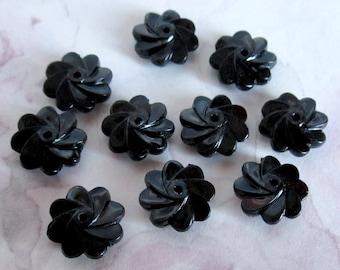 30 pcs. vintage black spiral flower beads 11x5mm - r101