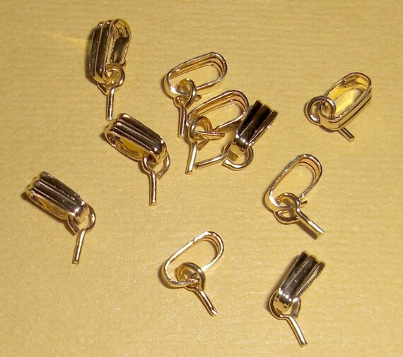 30 pcs. gold tone bails with screw eyes - f1435
