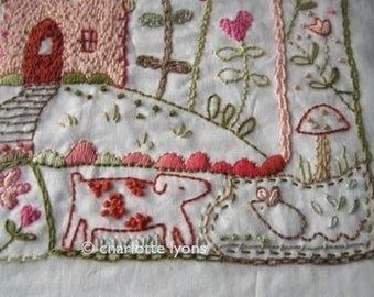 love-ly  stitchable embroidery sampler design printed on cotton