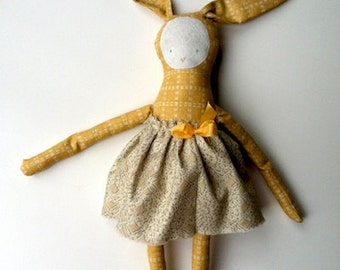 josie (or joey) bunny PDF : pattern and instructions to make a soft bunny toy with a skirt