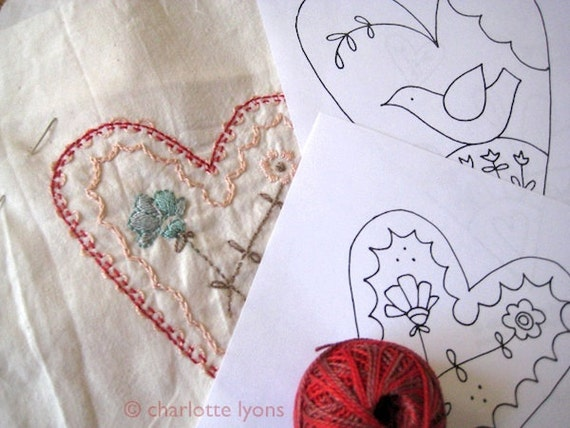PDF love hearts and flowers valentine stitch designs