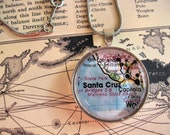 Santa Cruz Pendant Necklace - Vintage Map Jewelry - Glass Pendant Necklace - Silver - FREE 17 inche snake chain included