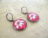 Beige Flower Penny Earrings//  recycled eco friendly - bohemian style jewelry - short earrwires-