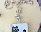 Wise Owl on Branch-  Pendant Necklace - Antiqued Silver Square - 18 Silver Plated Chain