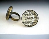 Chemistry Dictionary Cut-Out Brass Ring -  Geekery Ring - Adjustable - Glass Ring - Biology Sciences