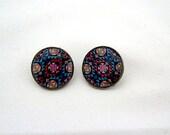 Southwestern Navajo-Inspired - American Indian Print Earrings - Post Earrings - Stud - Dime Coin Earrings - Pink and Blue