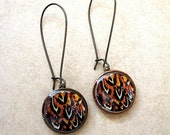 Feather Print Penny Earrings - Lucky Penny - Black Brown Orange Cream - coin jewelry