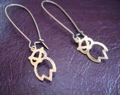 SALE Owl Whooter Hoots from a Wire Earrings A2