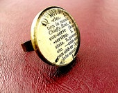 Conserve Dictionary Cut-Out Brass Ring - Conserve Ring - Adjustable - Glass Ring - Conservation