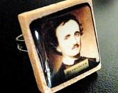 Edgar Allan Poe Vintage Scrabble Letter Tile Adjustable Ring