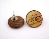 Vintage Style Bike Stud Earrings - Bicycle Post Earrings -Vintage Penny - Bicycle Jewelry
