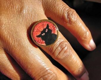 Francophone Le Chat Noir Penny Ring - cat ring - vintage- black cat ring