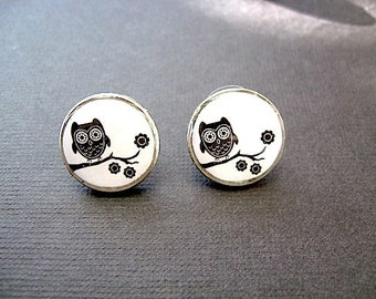 Owl Post Earrings - Dime Stud Earrings -Coin Jewelry - Black and white whooter Owl