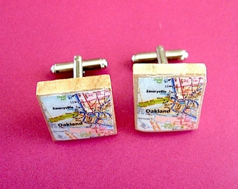 Oakland Map Vintage Scrabble Letter Tile CuffLink Set - Oakland Map Cufflinks - Oakland Man - Emeryville - Gift Idea for him - map cufflinks