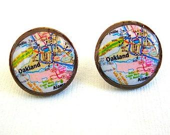 Oakland California Map - Oakland Map Penny Coin Stud Earrings -Map Jewelry- Eco Gift - Penny Earrings