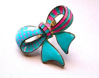 Bow Ring - Turquoise and Pin Adjustable Bow - Chic Cocktail Ring - Rockabilly Ring -