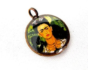 Frida Kahlo Pendant -  Penny Charm Pendant -  Luck penny -Antiqued Brass Chain purchase optional - Coin Pendant