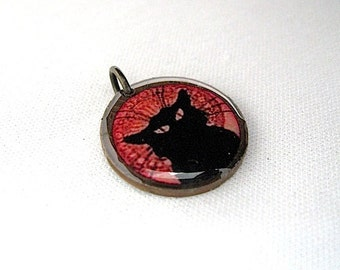 Le Chat Noir Charm - Lucky Penny Charm Pendant - Black Cat Pendant - Shabby - Antiqued Brass Chain sold seperately