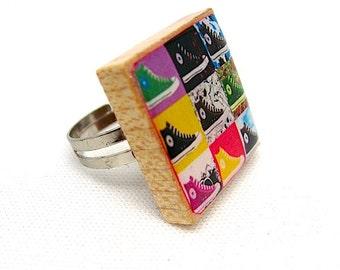 Converse Sneakers Scrabble Ring -  Vintage Scrabble Tile Adjustable Ring - Pop Neon Art