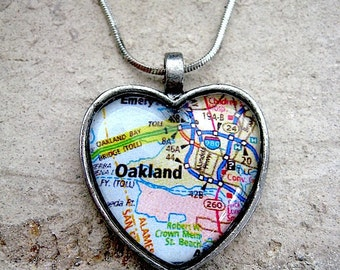 Oakland Map Pendant - Oakland California Map Jewelry - Map of Oakland Jewelry - Oakland Heart