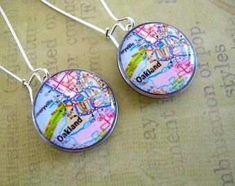 Oakland Map Dime Earrings// repurposed eco jewelry - Oakland Pride Oakland Map Jewelry - Oakland Art