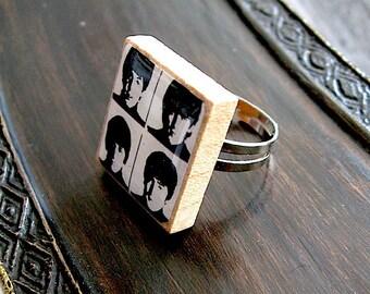 Beatles Ring - Beatles Scrabble Ring - Vintage Scrabble Letter Tile Adjustable Ring - black and white