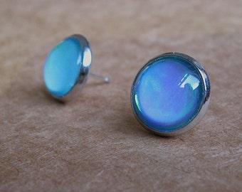 Color Change Post Stud Earrings - Glitter Collection - Mulit Color Earrings - turquoise purple blue - glass stud earrings