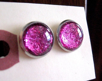 Be Dazzling - Hot Pink Shimmer Post Stud Earrings -Neon Pink - shimmer earrings - Glitter Earrings -