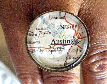 Austin Texas Map Ring -  Glass Ring - Vintage Map Jewelry  - Adjustable - Austin Jewelry - Texas Ring - maps - Map ring - Austin Women