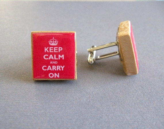 Red Keep Calm and Carry On Cufflinks - Scrabble Tile Cufflinks - free shipping