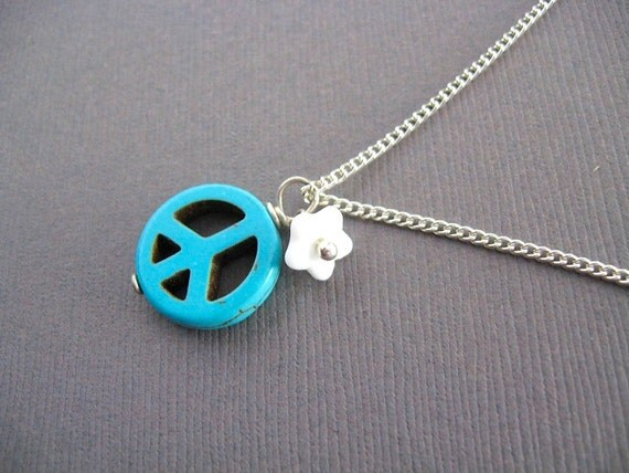 Turquoise Peace Pendant Necklace - peace sign necklace - boho chic