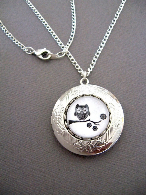 After Christmas Sale - Owl Locket Necklace - Whooter on a Branch - Owl Necklace Locket - FREE 26 inch Steel Chain Included