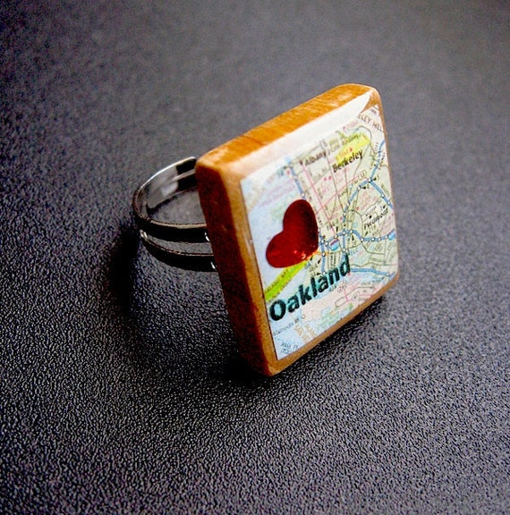 Oakland Alameda Map Ring// Scrabble Map Ring-- adjustable repurposed recycled upcycled