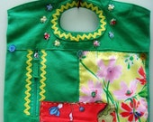Floral Purse, Handmade Purse, Small Tote, Appliqué Purse, Fabric Purse, Patchwork Bag, Green Purse, Floral Bag, Pretty Purse, Summer Purse